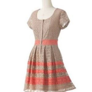 Lauren Conrad tan & coral lace dress 397